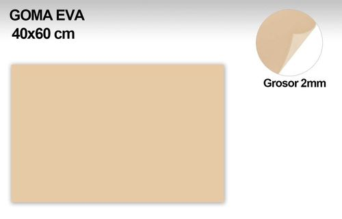 GOMA EVA COLOR CARNE CLARO 40x60 cm. 2mm grossor. 1unid.